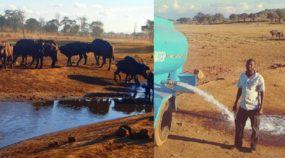 Herói dirige caminhão na savana africana para salvar animais da sede