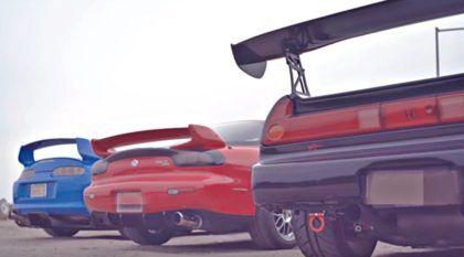 JDM na veia com o trio japonês sensação dos Anos 90: Toyota Supra, Honda NSX e Mazda RX7