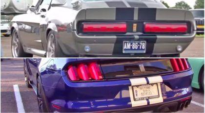 Mustang antigo e Mustang novo com motor V8