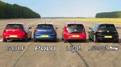 Linha VW GTI: todos da família se enfrentam em uma arrancada. Quem leva?